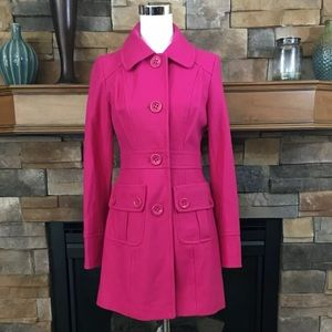 Tulle Alexis bright pink wool day coat XS NWT